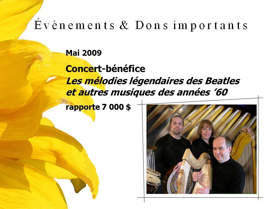 Mai 2009 Concert-bénéfice Les mélodies légendaires des Beatles et autres musiques des années 60 rapporte 7 000 $