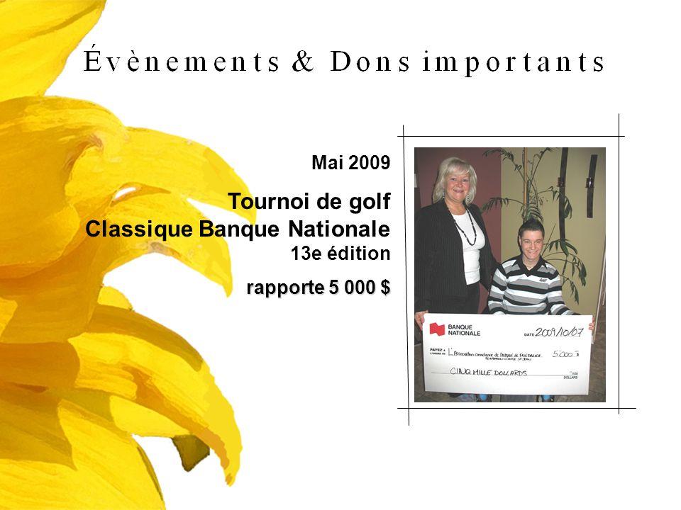 Mai 2009 Tournoi de golf Classique Banque Nationale 13e édition rapporte 5 000 $