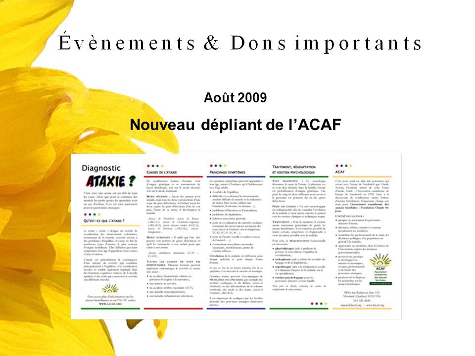 Août 2009 Nouveau dépliant de lACAF