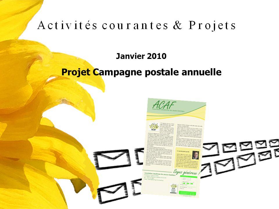Janvier 2010 Projet Campagne postale annuelle