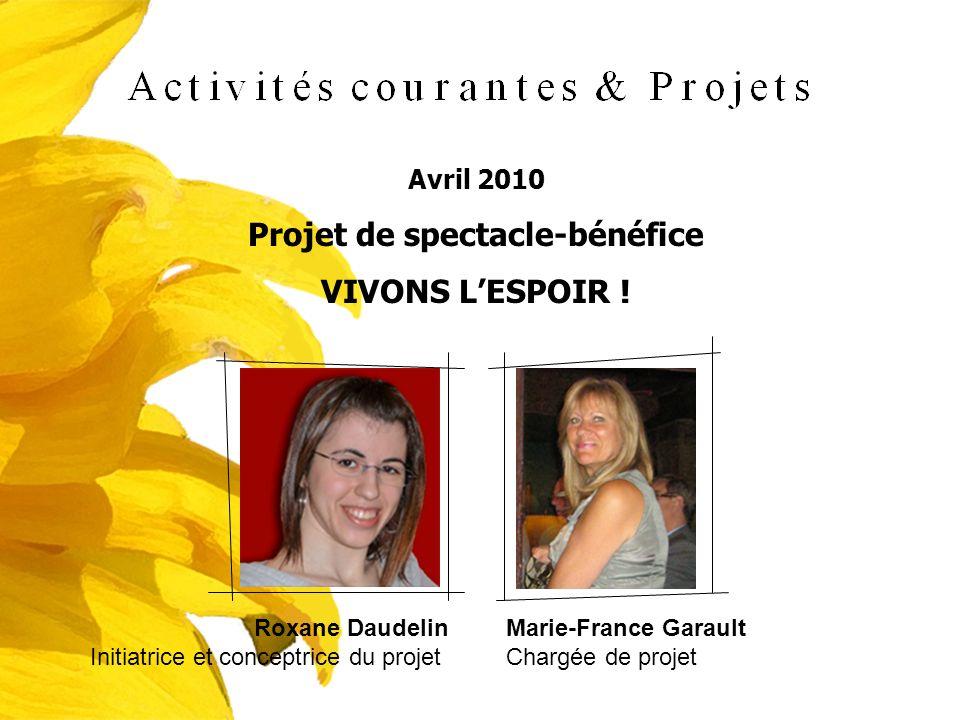 Avril 2010 Projet de spectacle-bénéfice VIVONS LESPOIR ! Roxane Daudelin Initiatrice et conceptrice du projet Marie-France Garault Chargée de projet