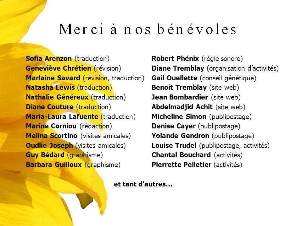 Sofia Arenzon (traduction) Geneviève Chrétien (révision) Marlaine Savard (révision, traduction) Natasha Lewis (traduction) Nathalie Généreux (traducti