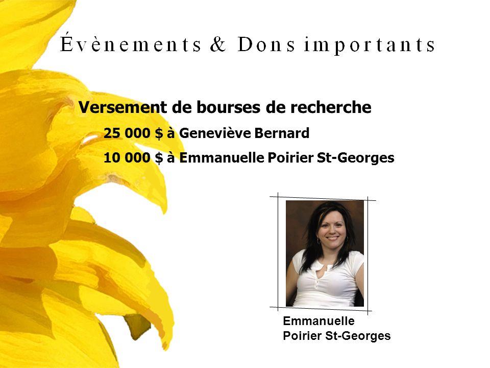 Versement de bourses de recherche 25 000 $ à Geneviève Bernard 10 000 $ à Emmanuelle Poirier St-Georges Emmanuelle Poirier St-Georges