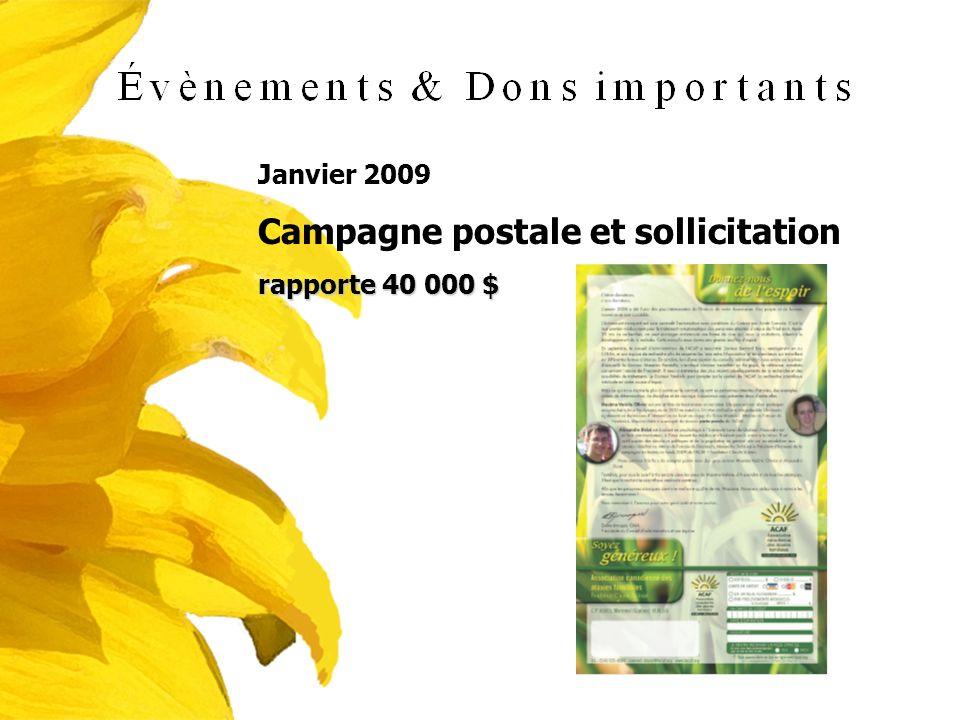 Janvier 2009 Campagne postale et sollicitation rapporte 40 000 $