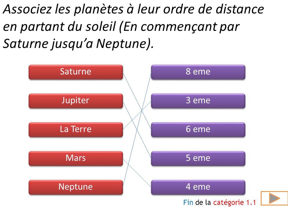 Combien de satellites possède Saturne? Saturne possède 1 satellite de moins que Jupiter. Question suivante 51 40 29 62 73