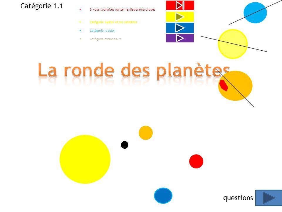 Questionnaire Catégorie le ronde des planètes Catégorie Jupiter et ses satellites Catégorie le soleil Catégorie extrasolaire Quitter le diaporama