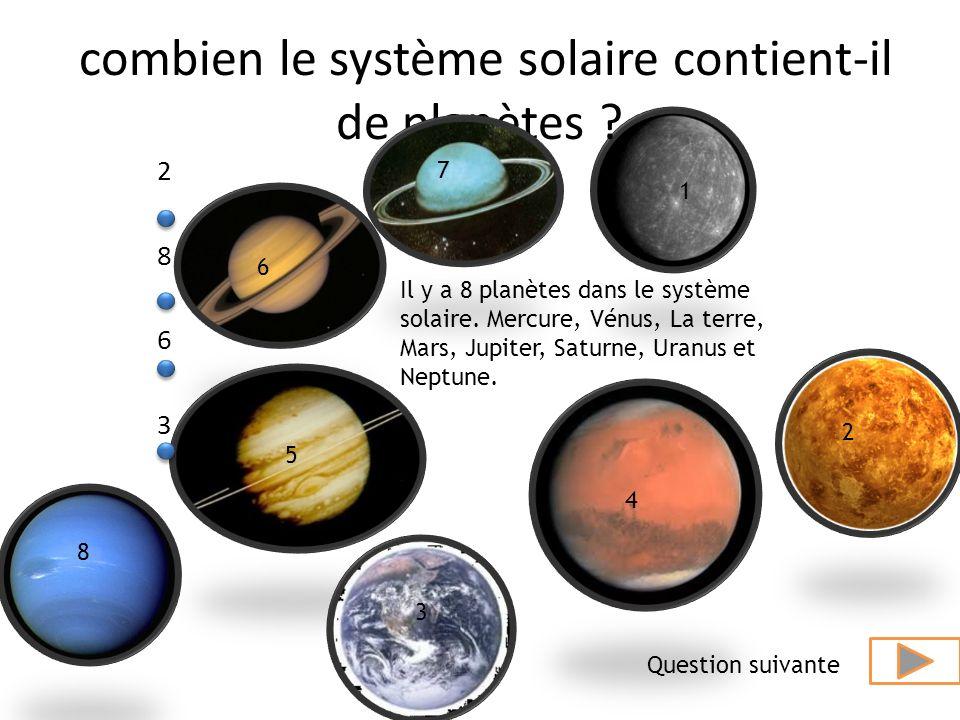La Terre Jupiter Saturne Vénus Uranus Associez les images de planètes a leurs nom (en commençant par le haut). Question suivante