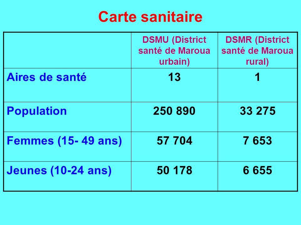 Carte sanitaire (structures) StructuresDSMUDSMR Hôpital de référence (HPM)1- Hôpital de District (HD)11 Centre Médical (CM)2- Clinique Privée2- Centre de santé141