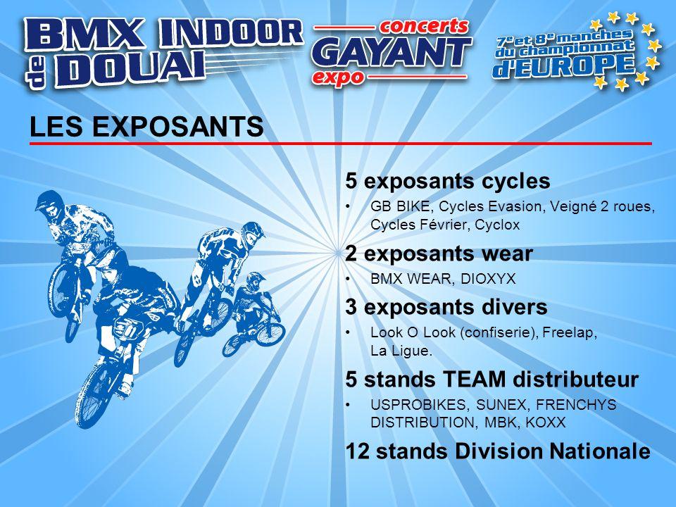 LES EXPOSANTS 5 exposants cycles GB BIKE, Cycles Evasion, Veigné 2 roues, Cycles Février, Cyclox 2 exposants wear BMX WEAR, DIOXYX 3 exposants divers