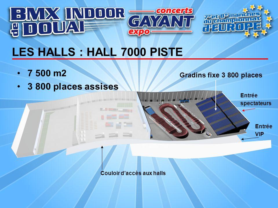 LES HALLS : HALL 7000 PISTE 7 500 m2 3 800 places assises Gradins fixe 3 800 places Entrée spectateurs Entrée VIP Couloir daccès aux halls