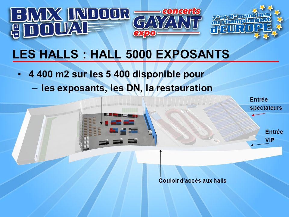 LES HALLS : HALL 5000 EXPOSANTS 4 400 m2 sur les 5 400 disponible pour –les exposants, les DN, la restauration Couloir daccès aux halls Entrée spectat