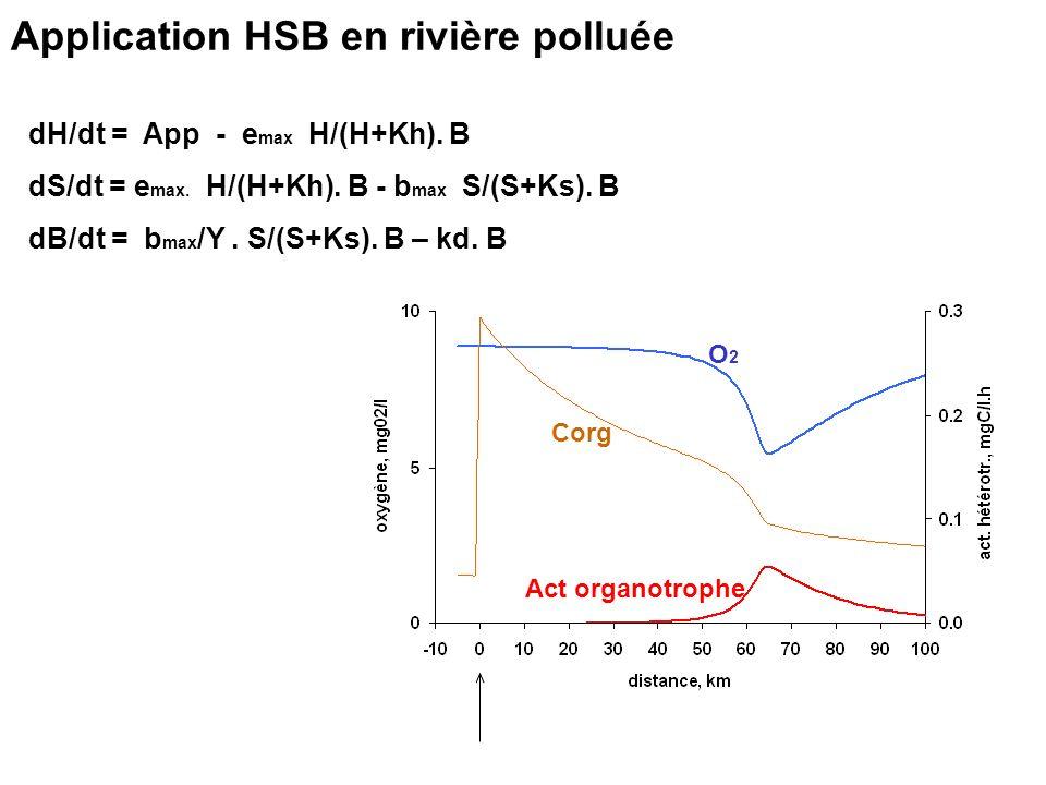 Application HSB en rivière polluée dH/dt = App - e max H/(H+Kh). B dS/dt = e max. H/(H+Kh). B - b max S/(S+Ks). B dB/dt = b max /Y. S/(S+Ks). B – kd.