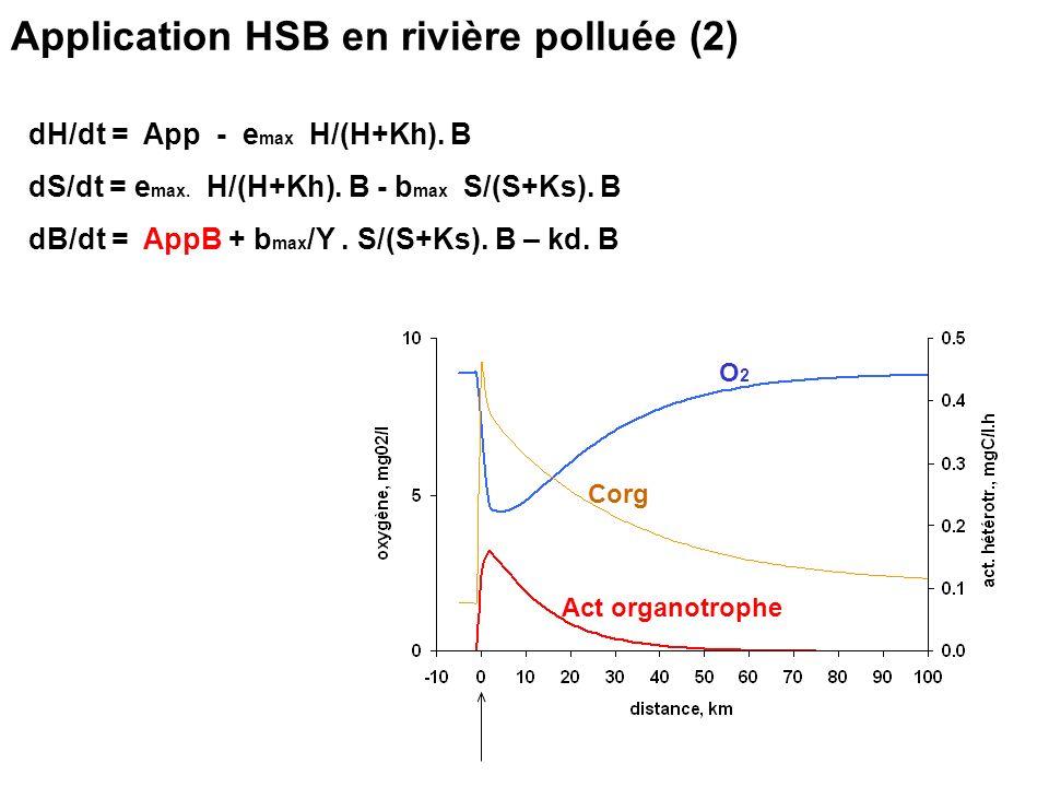Application HSB en rivière polluée (2) dH/dt = App - e max H/(H+Kh). B dS/dt = e max. H/(H+Kh). B - b max S/(S+Ks). B dB/dt = AppB + b max /Y. S/(S+Ks