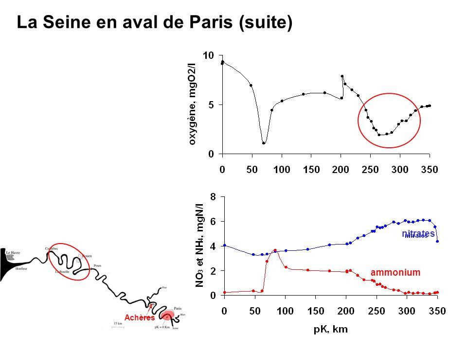 La Seine en aval de Paris (suite) Achères nitrates ammonium