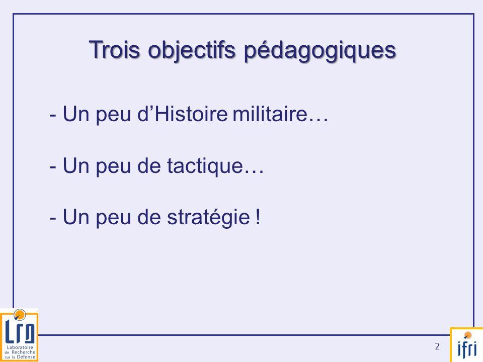 2 Trois objectifs pédagogiques - Un peu dHistoire militaire… - Un peu de tactique… - Un peu de stratégie !