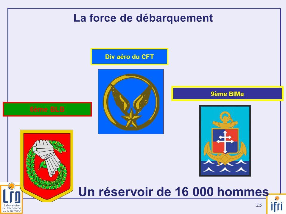 23 La force de débarquement Un réservoir de 16 000 hommes 6ème BLB Div aéro du CFT 9ème BIMa