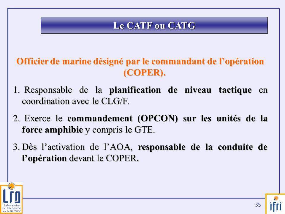 35 Officier de marine désigné par le commandant de lopération (COPER). 1. Responsable de la planification de niveau tactique en coordination avec le C