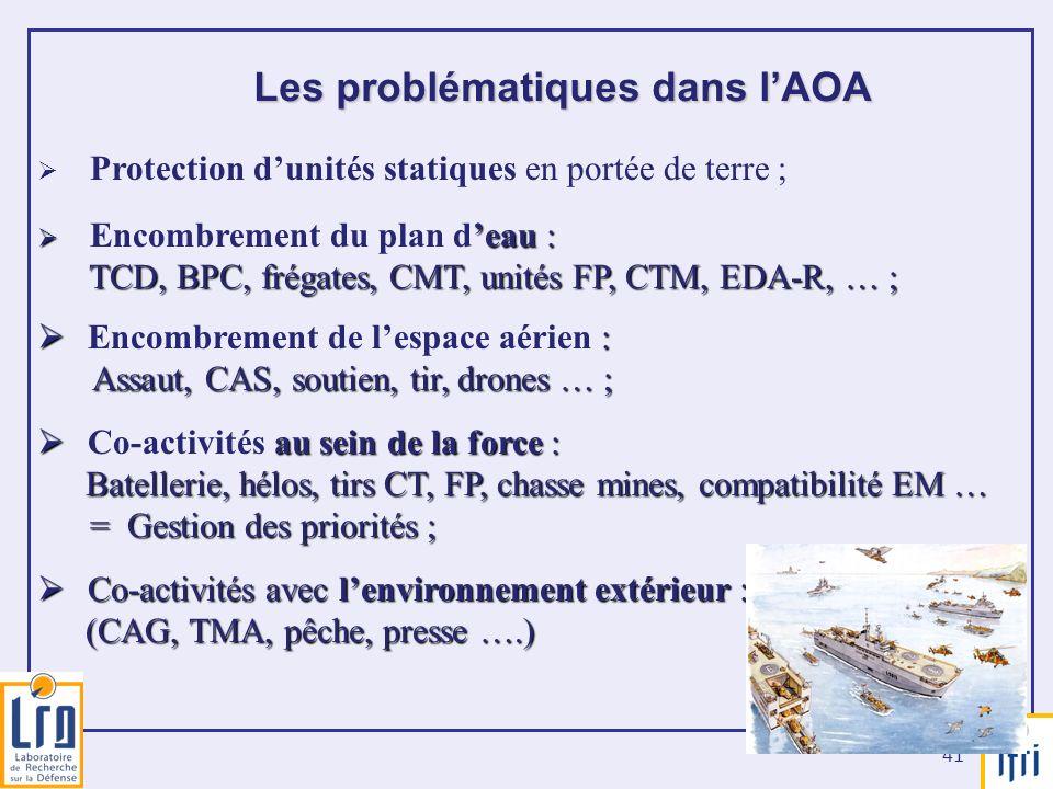 41 Les problématiques dans lAOA Protection dunités statiques en portée de terre ; eau : Encombrement du plan deau : TCD, BPC, frégates, CMT, unités FP