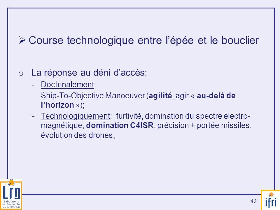 49 Course technologique entre lépée et le bouclier o La réponse au déni daccès: -Doctrinalement: Ship-To-Objective Manoeuver (agilité, agir « au-delà