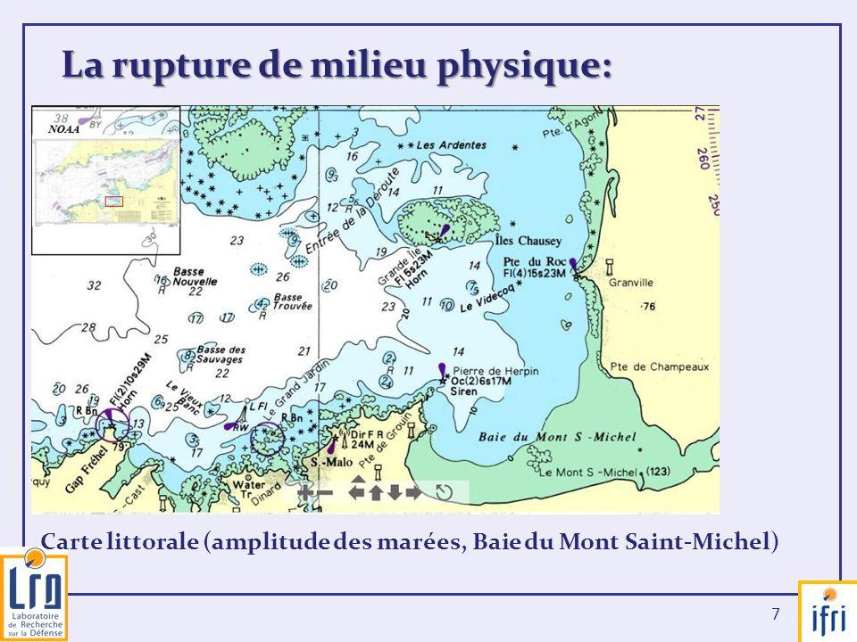 7 La rupture de milieu physique: Carte littorale (amplitude des marées, Baie du Mont Saint-Michel)