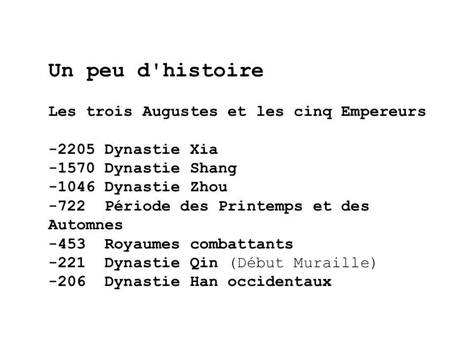 Un peu d'histoire Les trois Augustes et les cinq Empereurs -2205 Dynastie Xia -1570 Dynastie Shang -1046 Dynastie Zhou -722 Période des Printemps et d