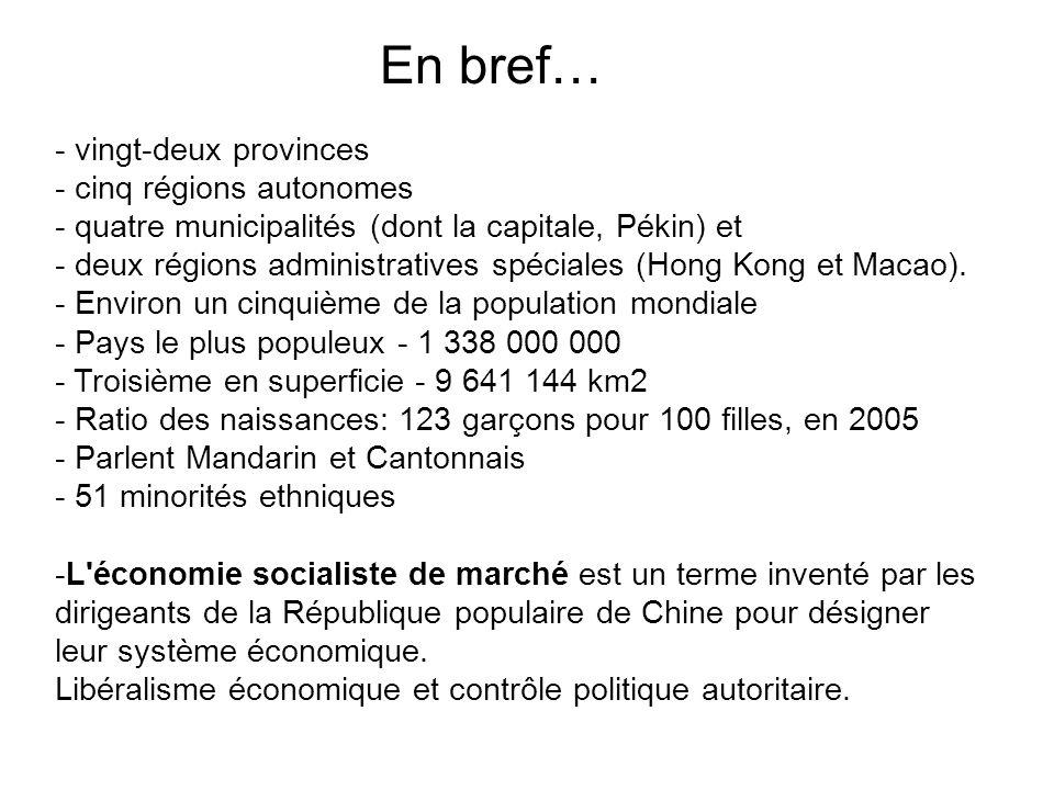 - vingt-deux provinces - cinq régions autonomes - quatre municipalités (dont la capitale, Pékin) et - deux régions administratives spéciales (Hong Kon