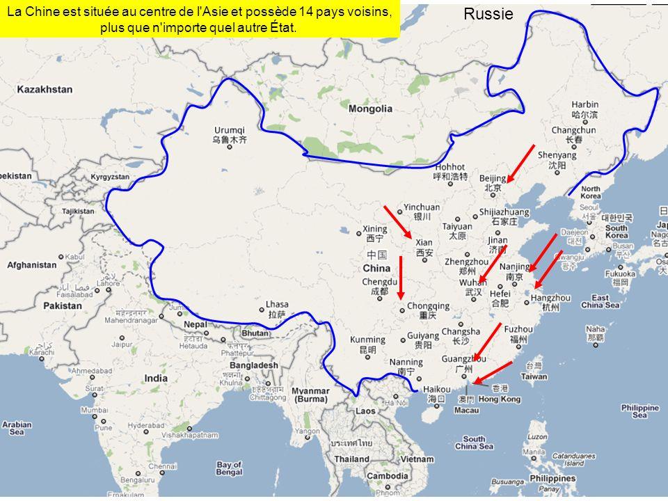 Russie La Chine est située au centre de l'Asie et possède 14 pays voisins, plus que n'importe quel autre État.