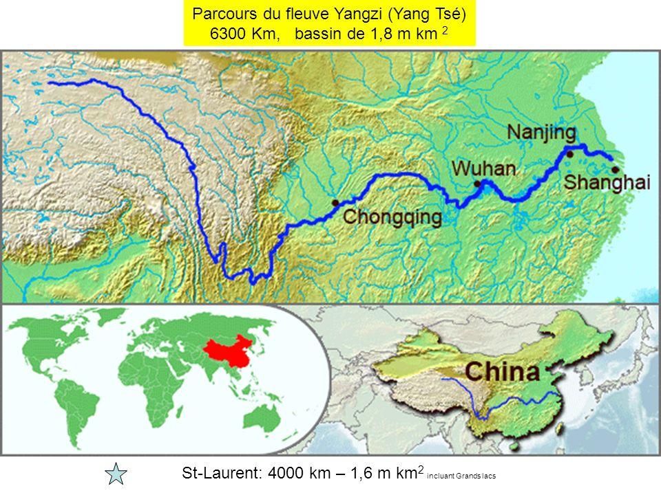 Parcours du fleuve Yangzi (Yang Tsé) 6300 Km, bassin de 1,8 m km 2 St-Laurent: 4000 km – 1,6 m km 2 incluant Grands lacs