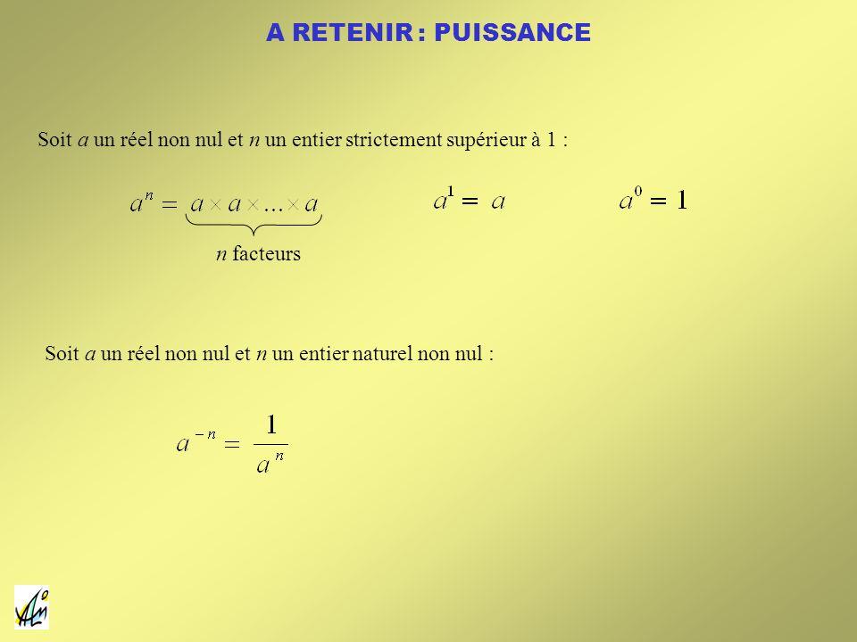 A RETENIR : PUISSANCE Soit a un réel non nul et n un entier strictement supérieur à 1 : n facteurs Soit a un réel non nul et n un entier naturel non n
