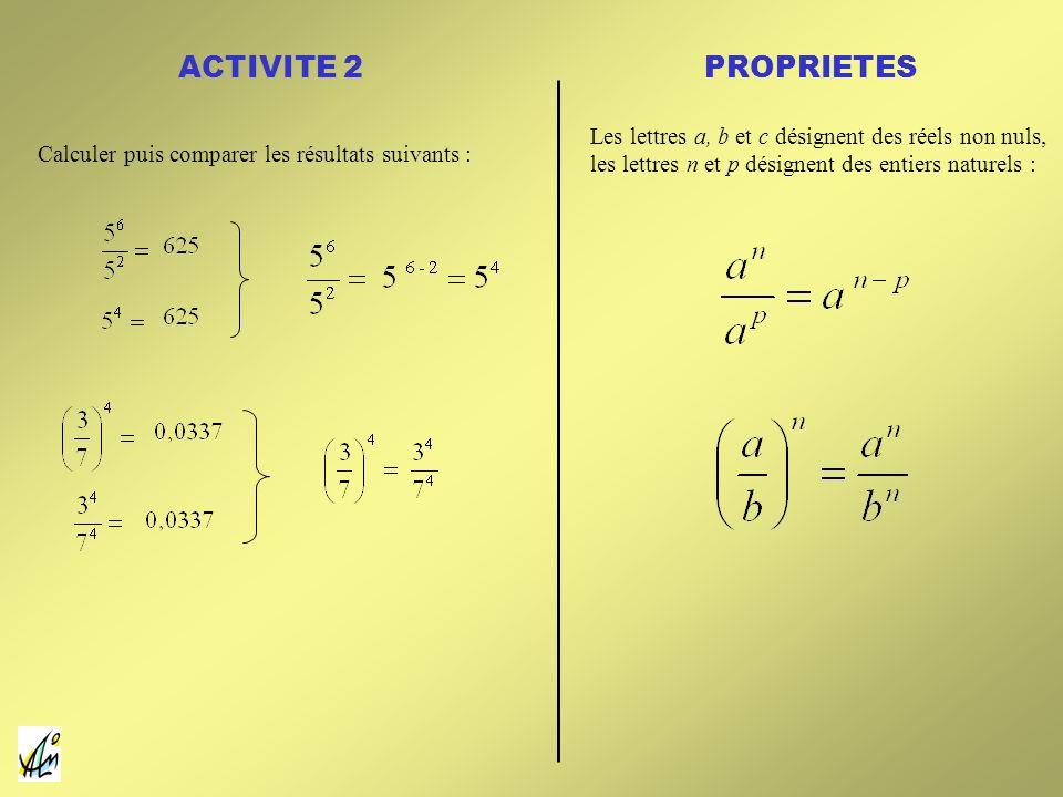 ACTIVITE 2 Calculer puis comparer les résultats suivants : Les lettres a, b et c désignent des réels non nuls, les lettres n et p désignent des entier