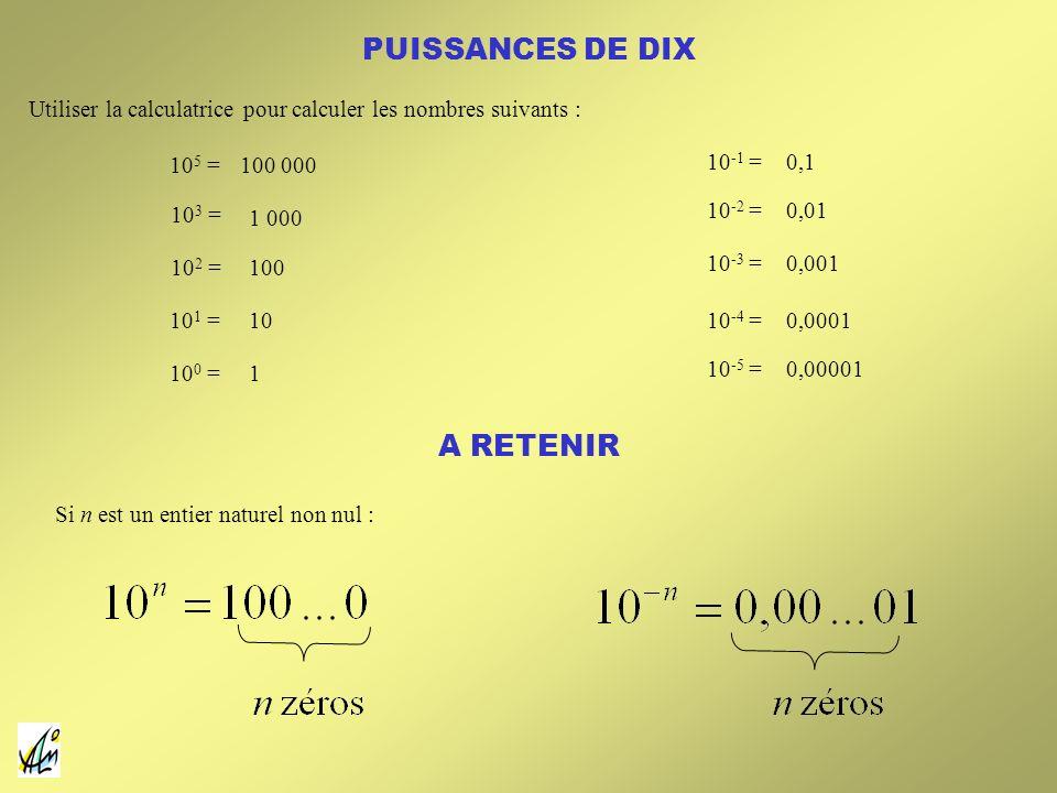 PUISSANCES DE DIX Utiliser la calculatrice pour calculer les nombres suivants : 10 5 = 10 3 = 10 2 = 10 1 = 10 0 = 10 -1 = 10 -2 = 10 -3 = 10 -4 = 10