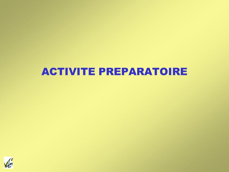 ACTIVITE PREPARATOIRE