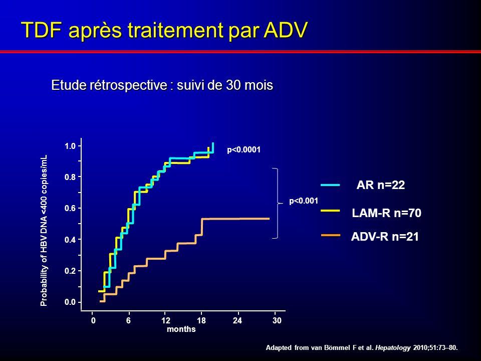 Etude rétrospective : suivi de 30 mois Etude rétrospective : suivi de 30 mois Adapted from van Bömmel F et al. Hepatology 2010;51:73–80. 0612182430 mo