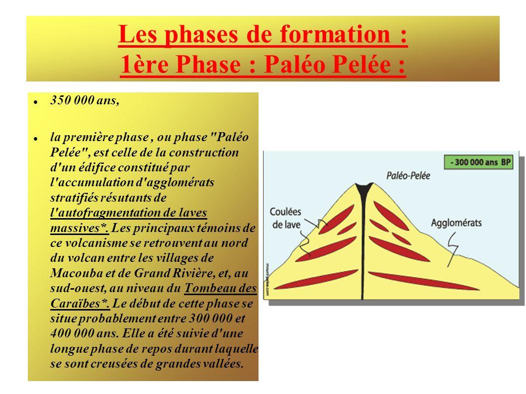 Les phases de formation : 1ère Phase : Paléo Pelée : 350 000 ans, la première phase, ou phase