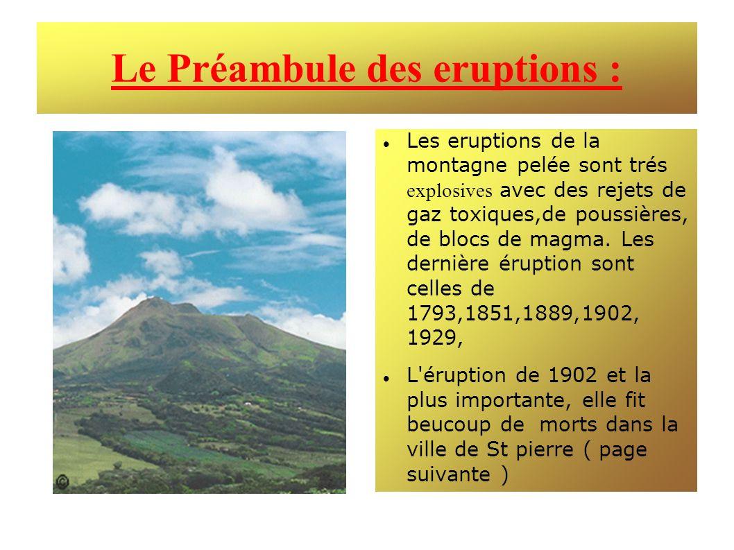 Le Préambule des eruptions : Les eruptions de la montagne pelée sont trés explosives avec des rejets de gaz toxiques,de poussières, de blocs de magma.
