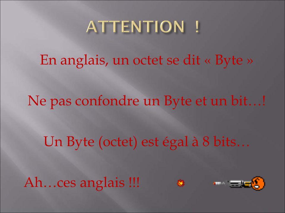 En anglais, un octet se dit « Byte » Ne pas confondre un Byte et un bit…! Un Byte (octet) est égal à 8 bits… Ah…ces anglais !!!