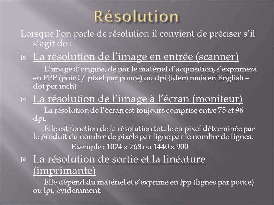 Lorsque lon parle de résolution il convient de préciser sil sagit de : La résolution de limage en entrée (scanner) Limage dorigine, de par le matériel