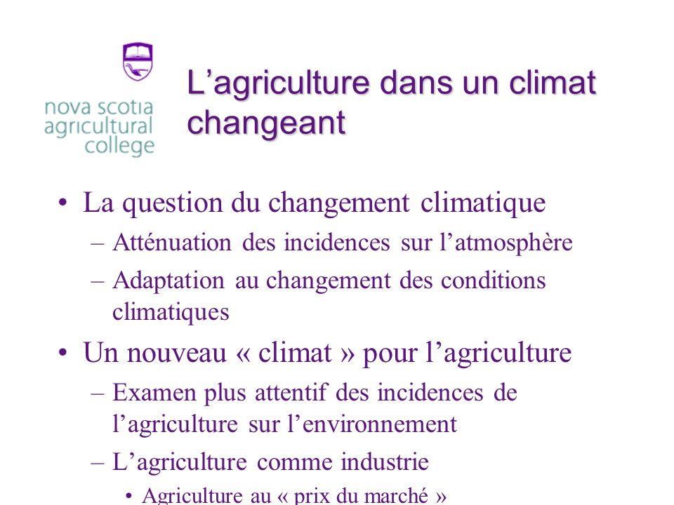 Lagriculture dans un climat changeant La question du changement climatique –Atténuation des incidences sur latmosphère –Adaptation au changement des conditions climatiques Un nouveau « climat » pour lagriculture –Examen plus attentif des incidences de lagriculture sur lenvironnement –Lagriculture comme industrie Agriculture au « prix du marché »