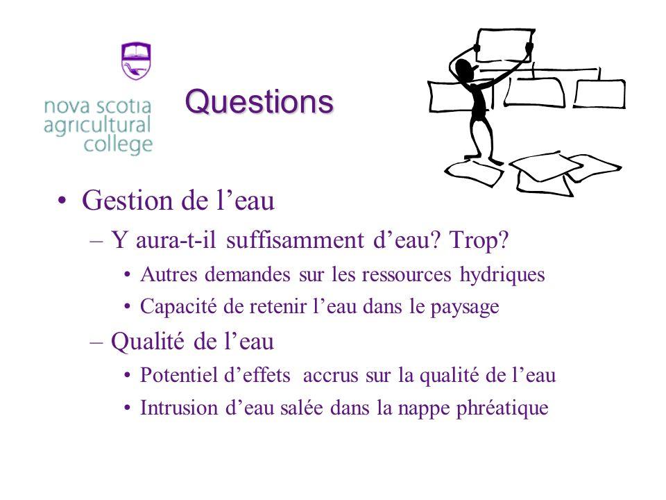 Questions Gestion de leau –Y aura-t-il suffisamment deau.