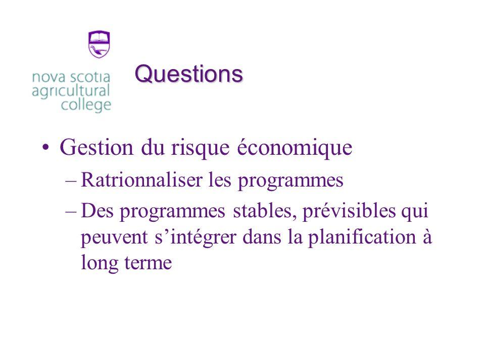Questions Gestion du risque économique –Ratrionnaliser les programmes –Des programmes stables, prévisibles qui peuvent sintégrer dans la planification à long terme