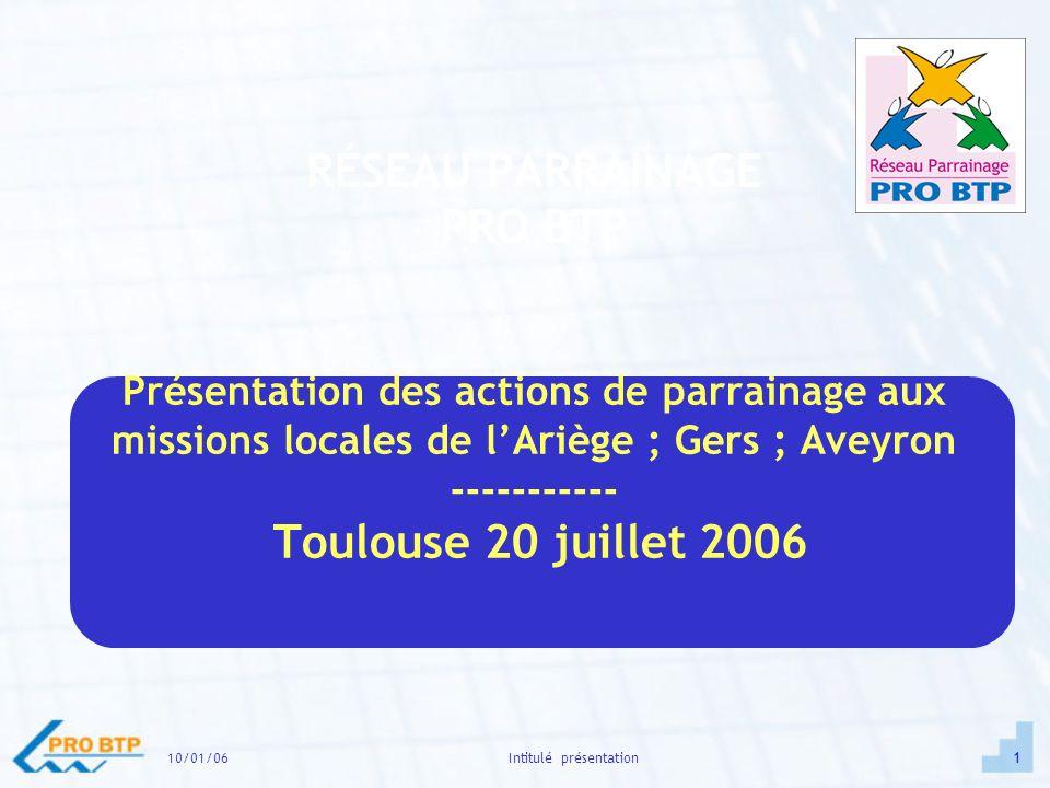 10/01/061Intitulé présentation RÉSEAU PARRAINAGE PRO BTP Présentation des actions de parrainage aux missions locales de lAriège ; Gers ; Aveyron ----------- Toulouse 20 juillet 2006