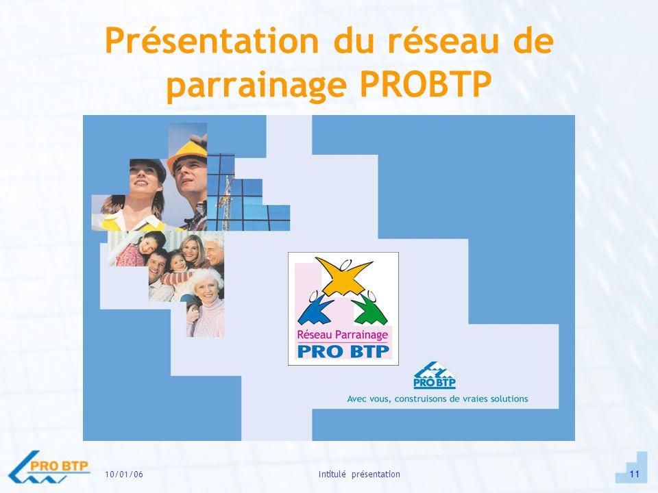 10/01/0611Intitulé présentation Présentation du réseau de parrainage PROBTP