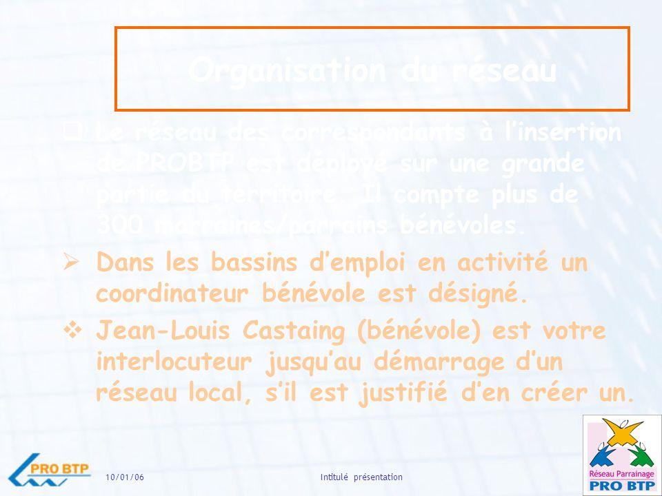 10/01/0614Intitulé présentation Organisation du réseau Le réseau des correspondants à linsertion de PROBTP est déployé sur une grande partie du territoire.