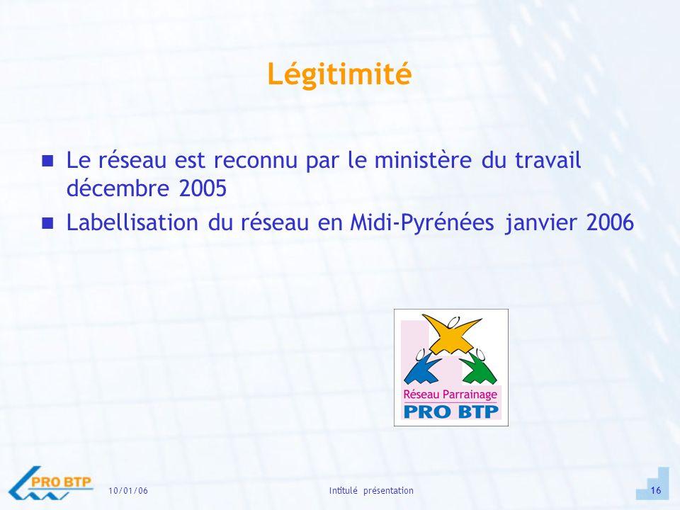 10/01/0616Intitulé présentation Légitimité Le réseau est reconnu par le ministère du travail décembre 2005 Labellisation du réseau en Midi-Pyrénées janvier 2006