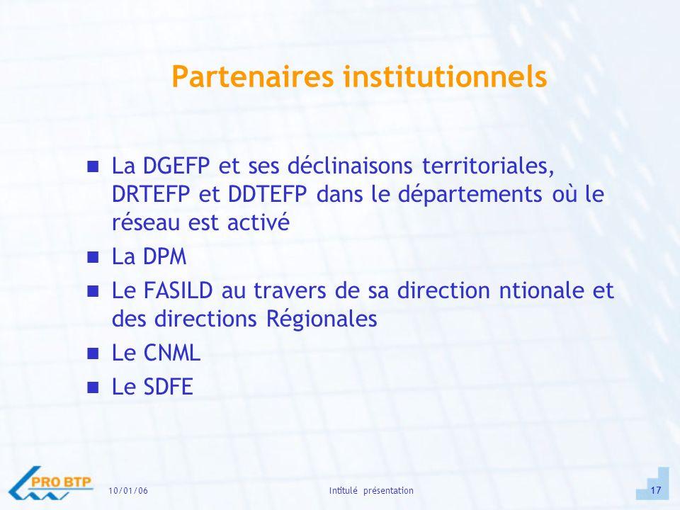 10/01/0617Intitulé présentation Partenaires institutionnels La DGEFP et ses déclinaisons territoriales, DRTEFP et DDTEFP dans le départements où le réseau est activé La DPM Le FASILD au travers de sa direction ntionale et des directions Régionales Le CNML Le SDFE