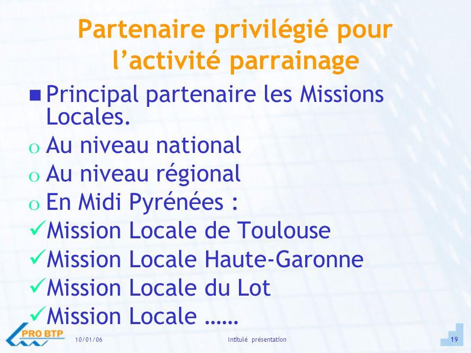 10/01/0619Intitulé présentation Partenaire privilégié pour lactivité parrainage Principal partenaire les Missions Locales.
