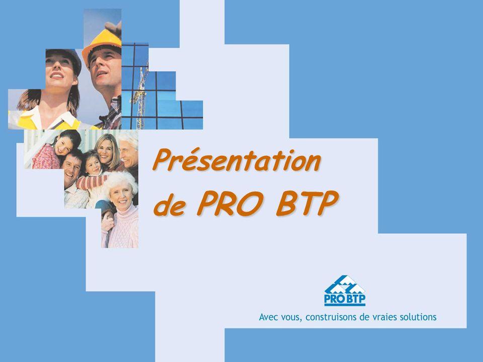 10/01/064Intitulé présentation PRO BTP est le premier Groupe professionnel de Protection sociale paritaire en France Au service des Entreprises, des Artisans, des Salariés et des Retraités du BTP