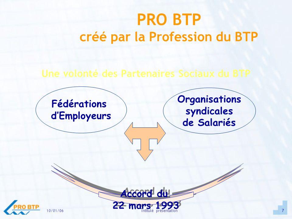 10/01/0618Intitulé présentation Partenaires de la branche professionnelle BTP FFB CAPEB SCOP ELECTRICIENS AREF, Clef BTP AFPA CFA (CCCA) ……….