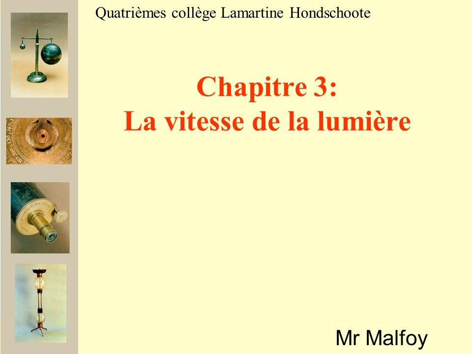 Mr Malfoy Quatrièmes collège Lamartine Hondschoote Chapitre 3: La vitesse de la lumière