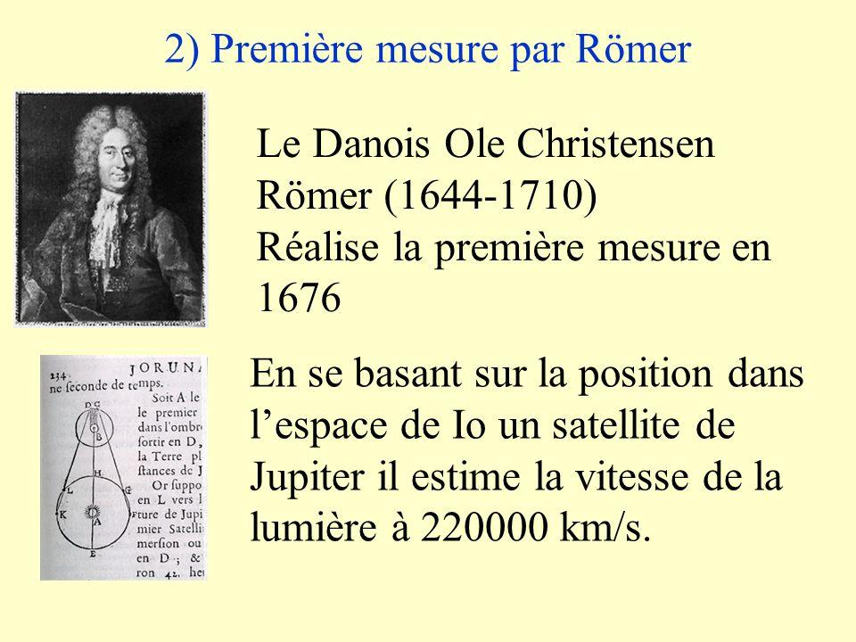 2) Première mesure par Römer Le Danois Ole Christensen Römer (1644-1710) Réalise la première mesure en 1676 En se basant sur la position dans lespace de Io un satellite de Jupiter il estime la vitesse de la lumière à 220000 km/s.